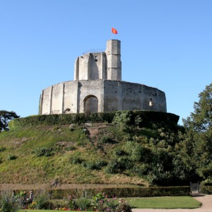 The wooden palisades surmounting mottes were often later replaced with stone, as in this example at Château de Gisors in France.