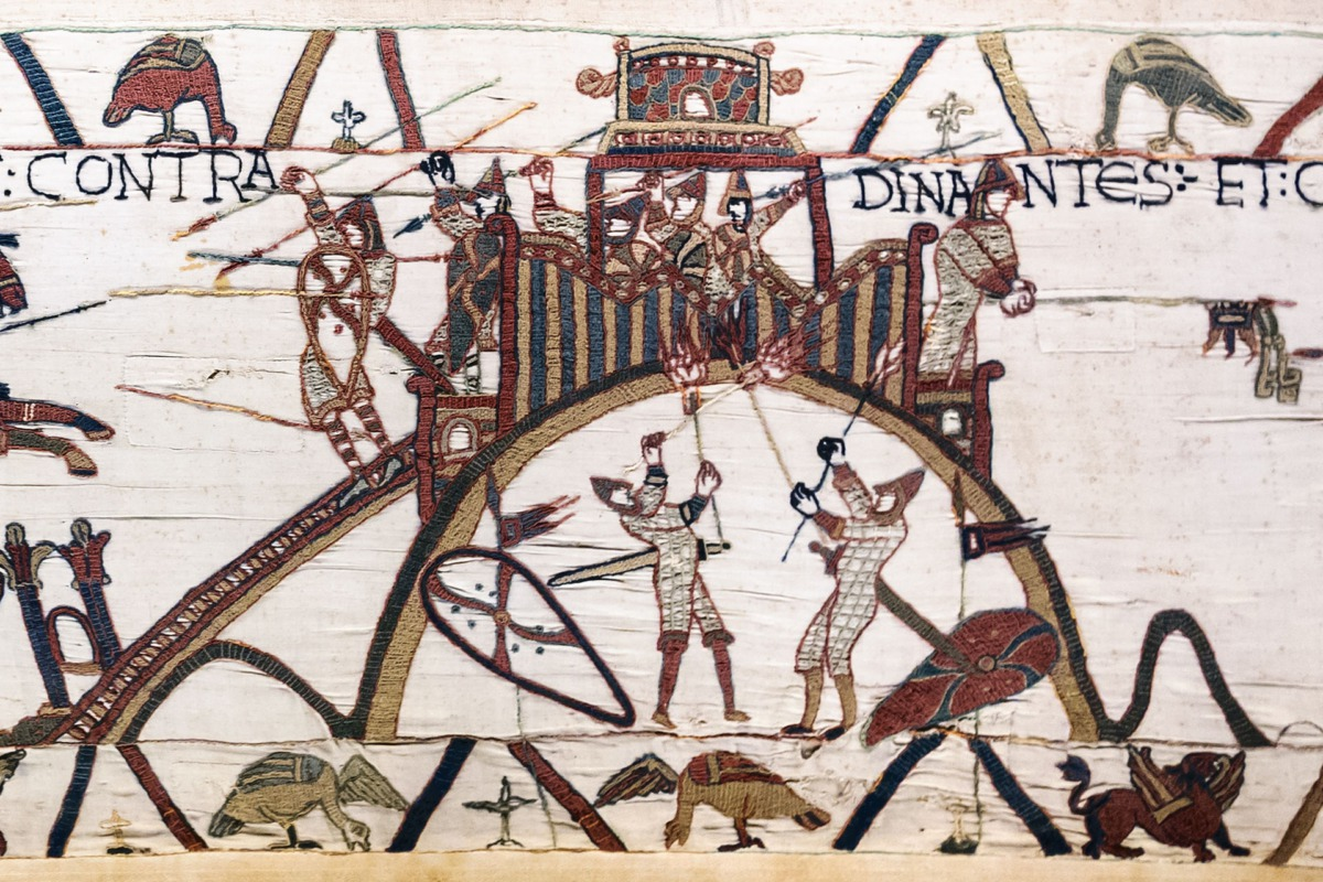 The Bayeux Tapestry contains one of the earliest representations of a castle. It depicts attackers of Château de Dinan in France using fire, one of the threats to wooden castles.